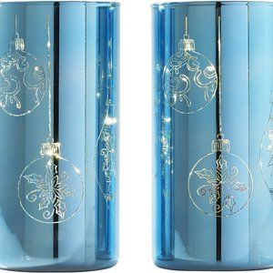 "S/(2) 8"" Etched Mercury Glass Pillars"